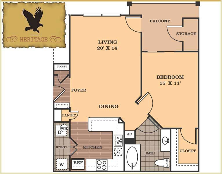 801 sq. ft. Heritage floor plan