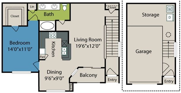 893 sq. ft. A3 floor plan