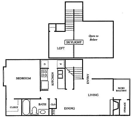 788 sq. ft. A3 floor plan