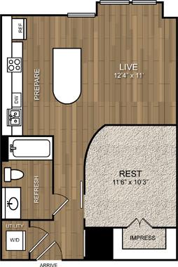 597 sq. ft. A4 floor plan