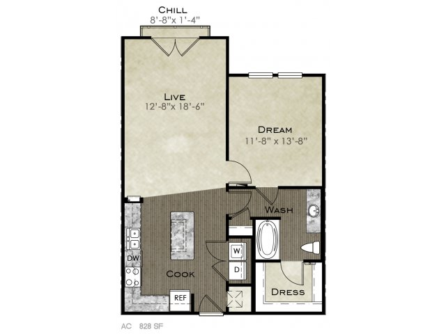 828 sq. ft. Threadgille II floor plan