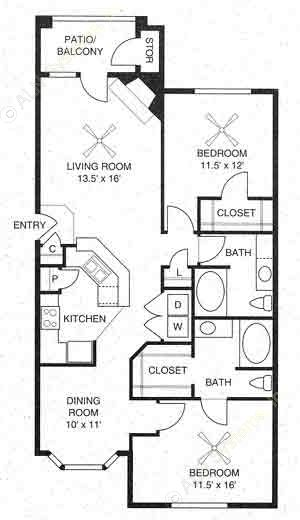 1,135 sq. ft. Chesapeake/B2 floor plan