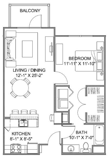 738 sq. ft. Avenue G 60 floor plan