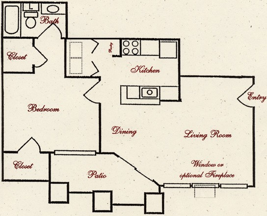 680 sq. ft. A6 floor plan