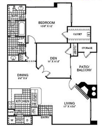 968 sq. ft. A4 floor plan
