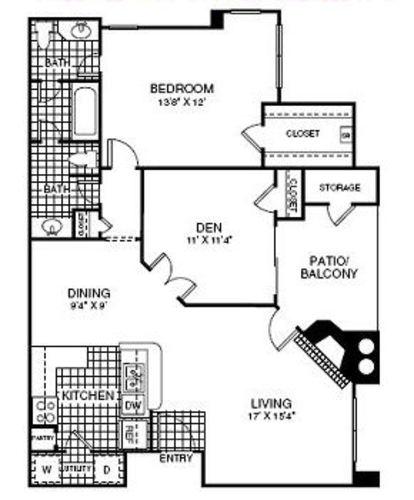 968 sq. ft. A4 floor plan