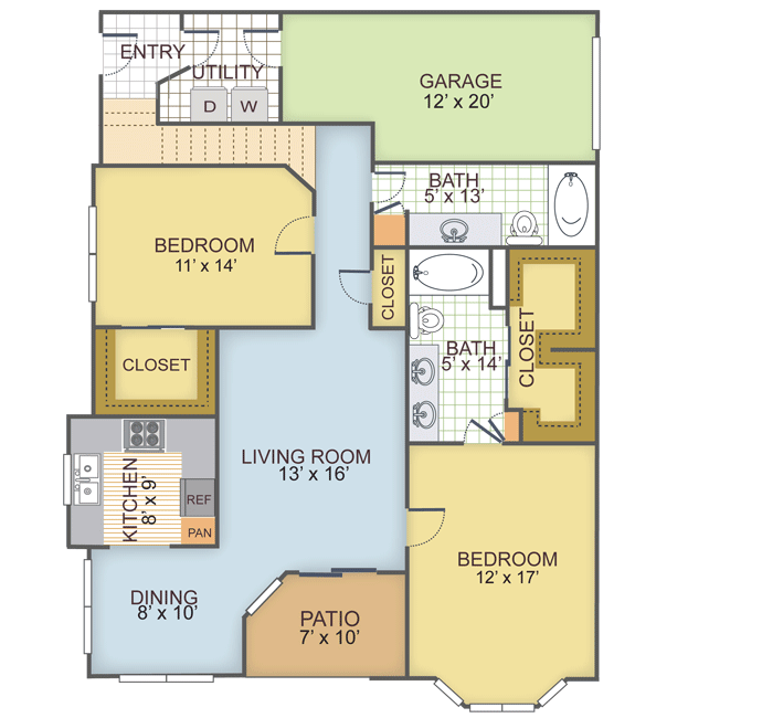 1,325 sq. ft. 2G floor plan