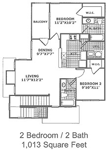 1,013 sq. ft. B3 60 floor plan