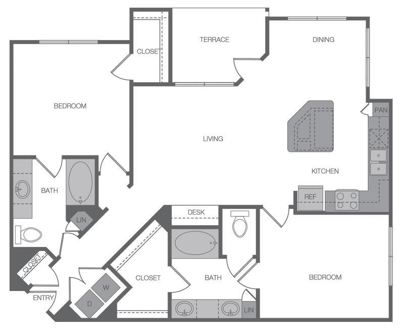 1,205 sq. ft. B2 floor plan