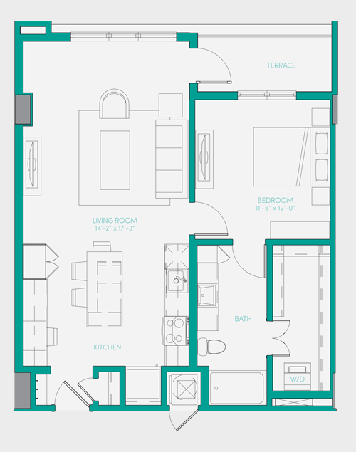 807 sq. ft. A2.4 floor plan