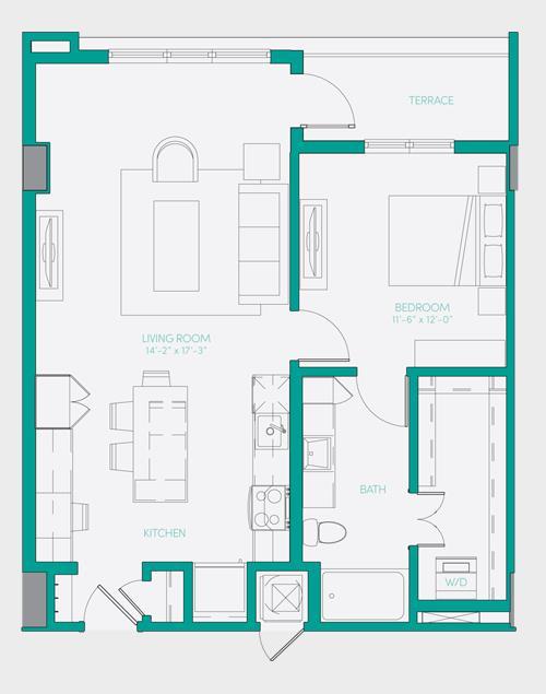 807 sq. ft. A2.4 floor plan
