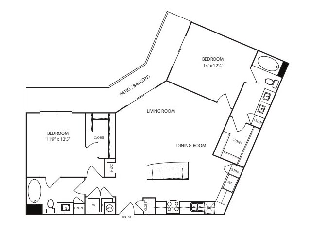 1,180 sq. ft. B2 alt floor plan