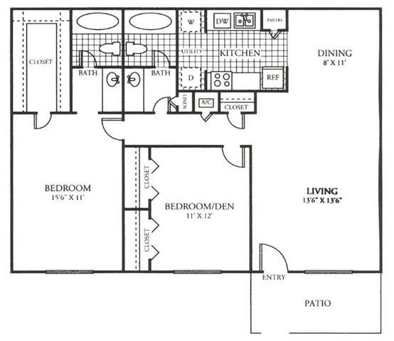 1,044 sq. ft. E floor plan