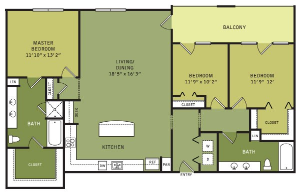 1,500 sq. ft. C3 (II) floor plan