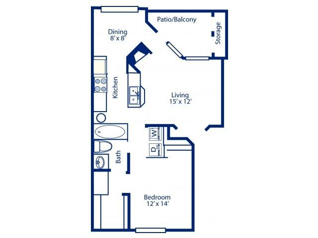 773 sq. ft. A3 floor plan