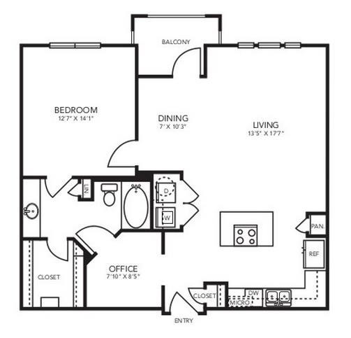 911 sq. ft. A4 floor plan