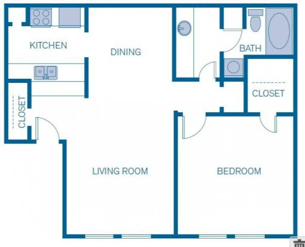 754 sq. ft. 1B floor plan