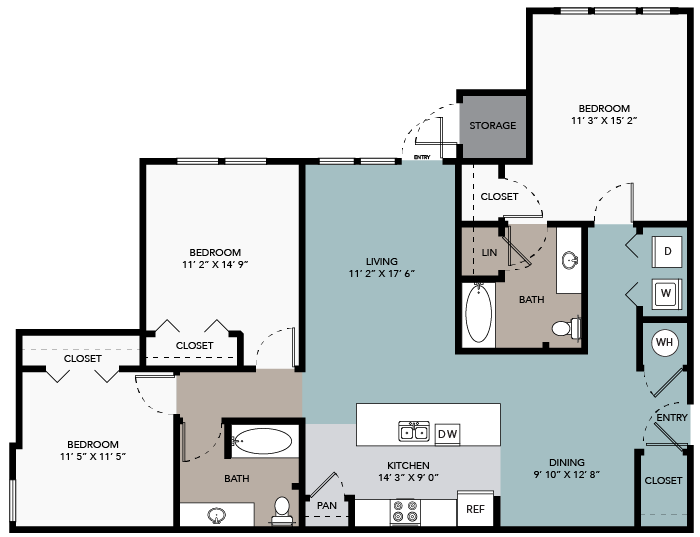 1,322 sq. ft. 3A floor plan
