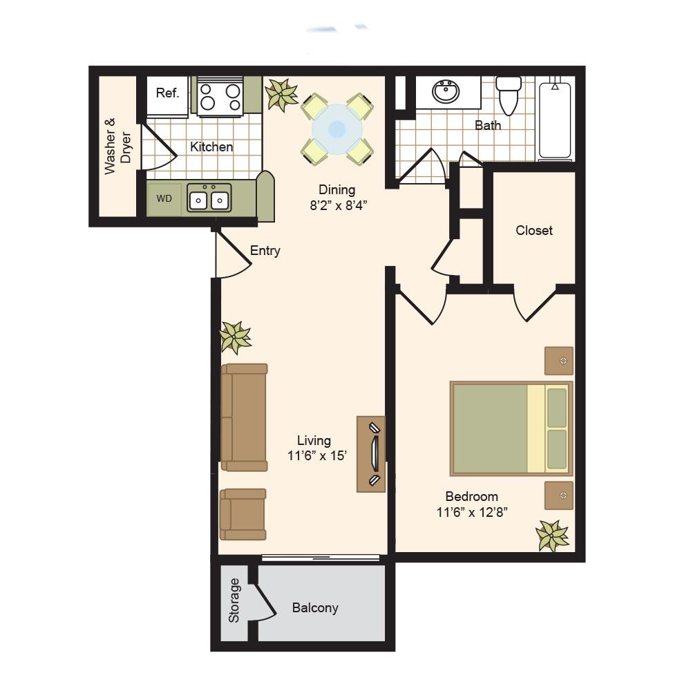 645 sq. ft. A floor plan