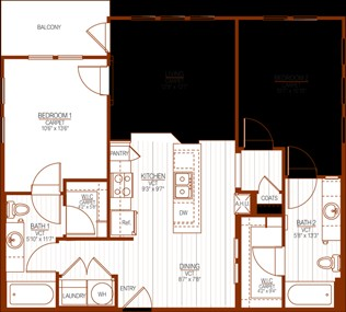 1,007 sq. ft. floor plan