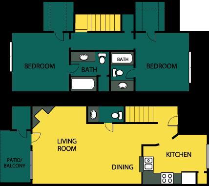1,089 sq. ft. Extravagant floor plan