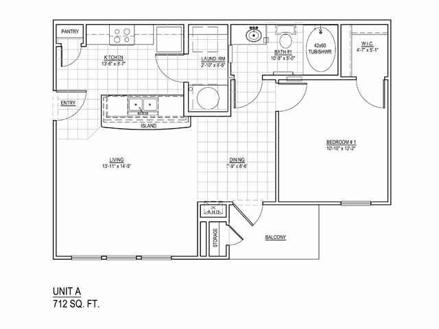 712 sq. ft. 60% floor plan