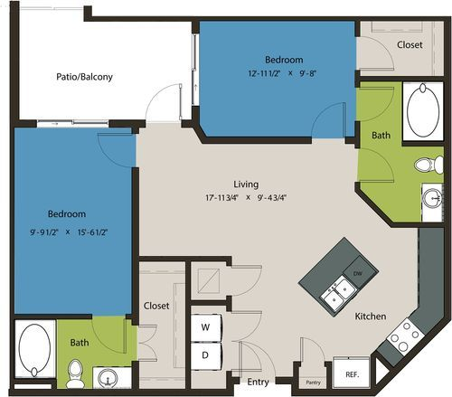 995 sq. ft. B7A floor plan