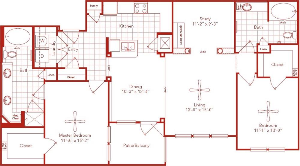 1,417 sq. ft. Braeswood floor plan
