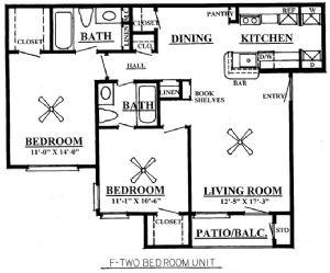 865 sq. ft. F 60% floor plan