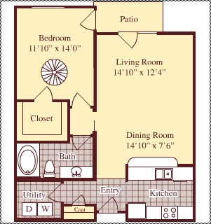846 sq. ft. A4 floor plan