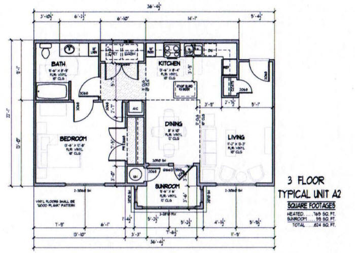 824 sq. ft. A2-60% floor plan