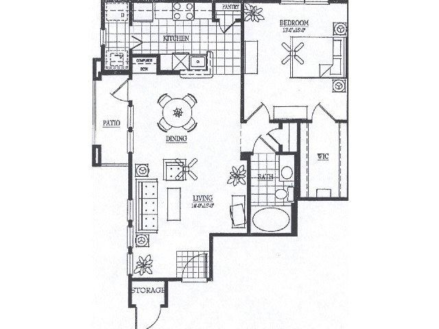 917 sq. ft. A5 floor plan