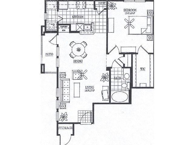 917 sq. ft. A5 floor plan