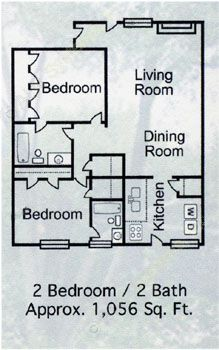 1,056 sq. ft. B-6 floor plan