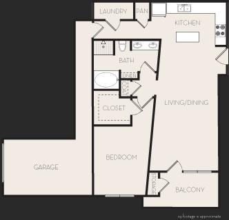 997 sq. ft. A5 floor plan