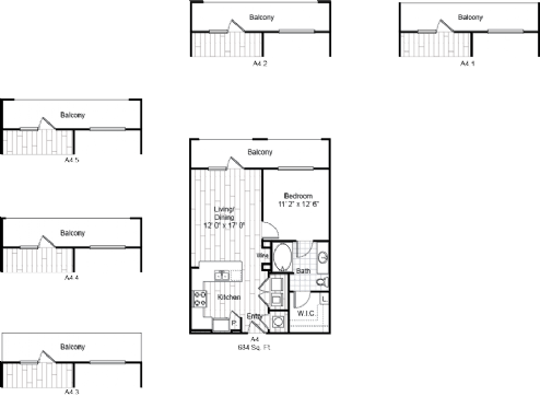 684 sq. ft. A4 floor plan