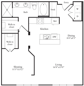 896 sq. ft. L floor plan