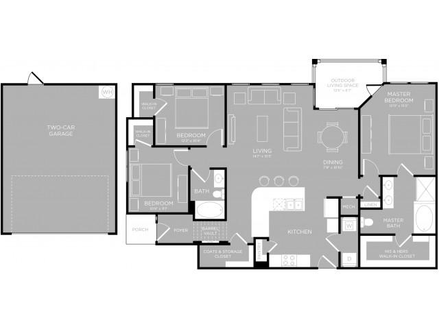 1,498 sq. ft. Congress C1 floor plan