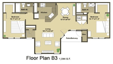 1,044 sq. ft. Cheasapeak floor plan