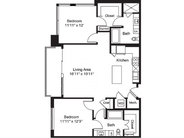 1,161 sq. ft. LC floor plan