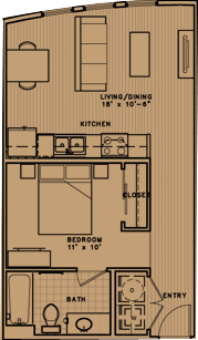 581 sq. ft. E1 floor plan