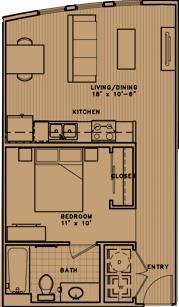 581 sq. ft. E1 floor plan