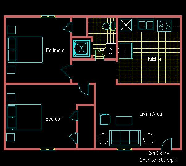 600 sq. ft. G floor plan