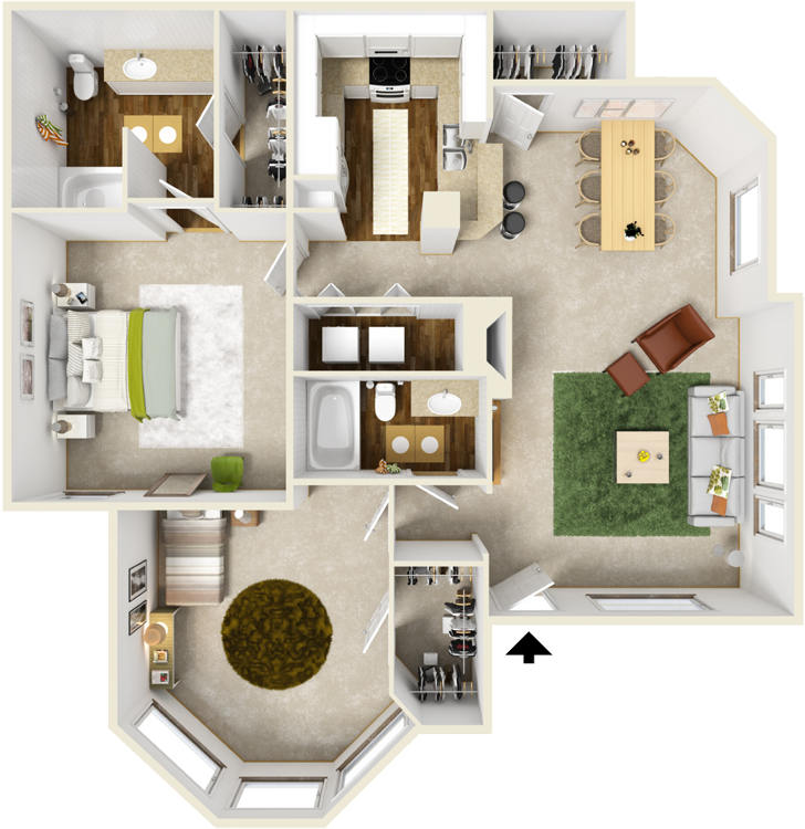 1,082 sq. ft. D floor plan