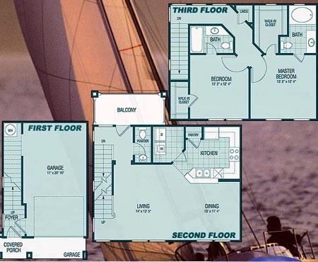 1,385 sq. ft. B3 Pallada floor plan