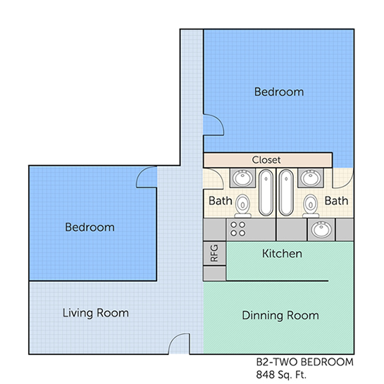 848 sq. ft. B2 floor plan