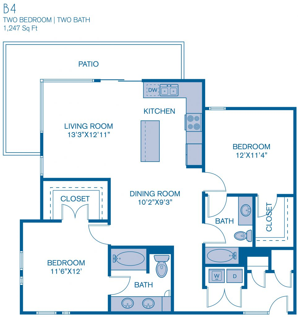 1,247 sq. ft. B4 floor plan
