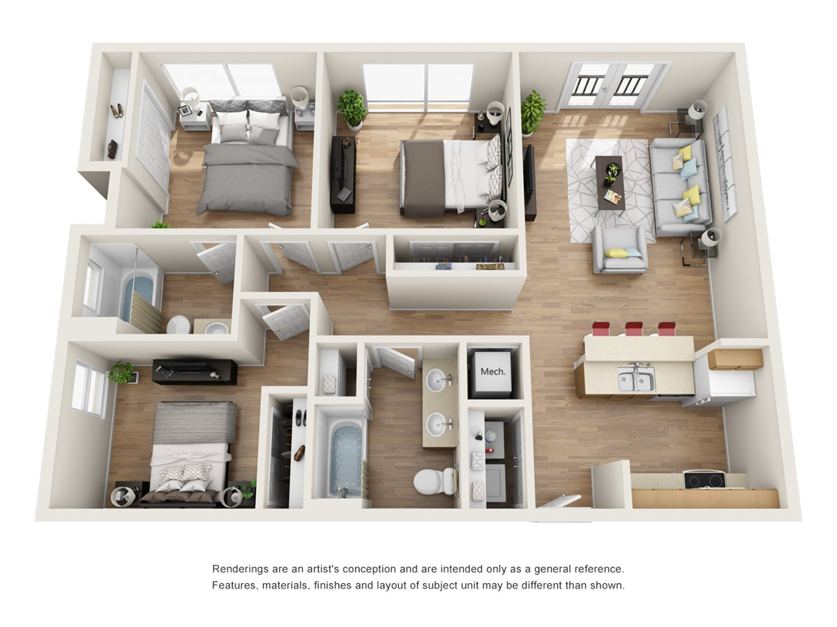 1,147 sq. ft. B1 floor plan