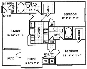 1,177 sq. ft. B3 floor plan