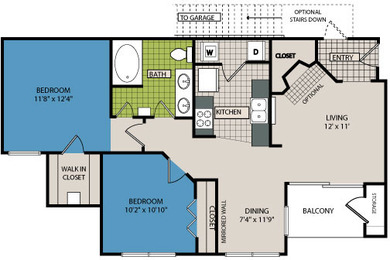859 sq. ft. B1A floor plan